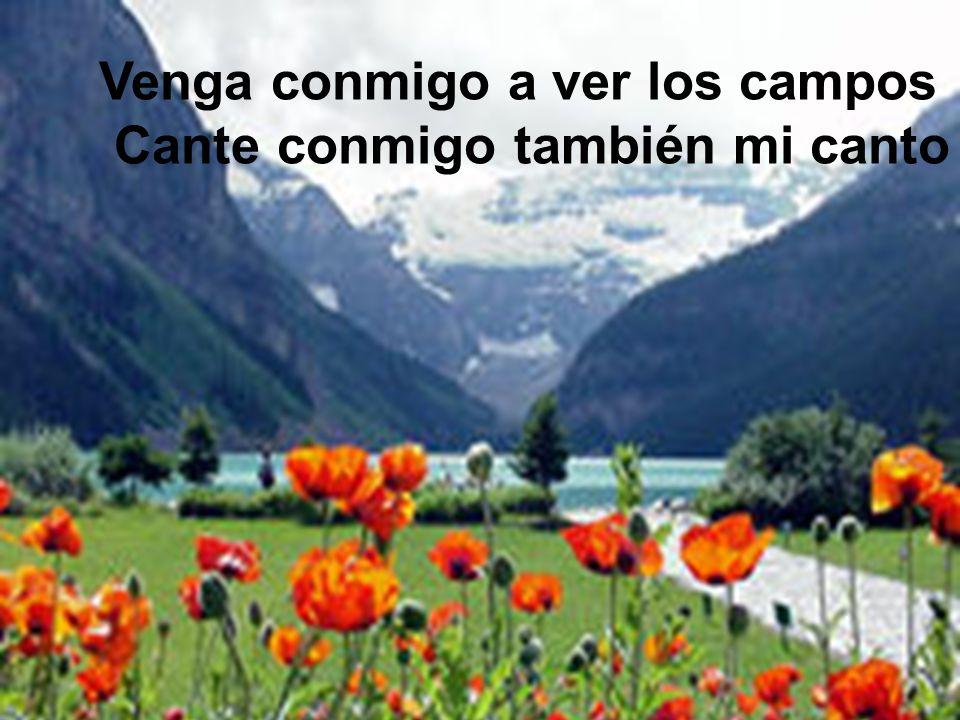 Venga conmigo a ver los campos Cante conmigo también mi canto