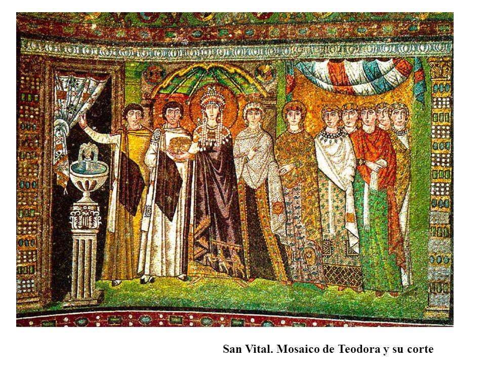 San Vital. Mosaico de Teodora y su corte