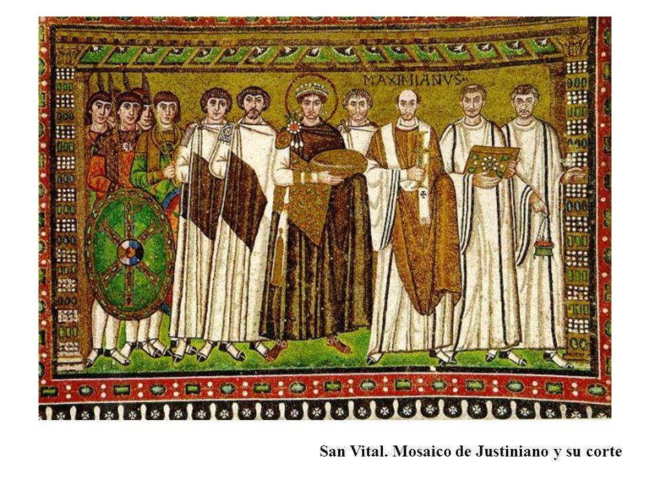 San Vital. Mosaico de Justiniano y su corte