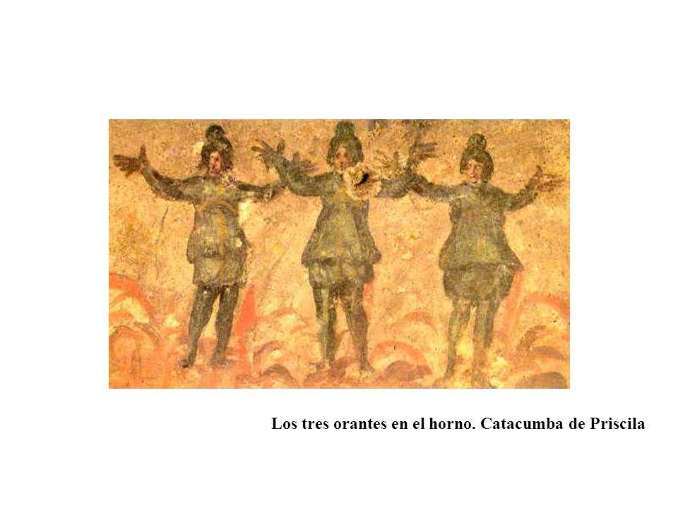 Los tres orantes en el horno. Catacumba de Priscila