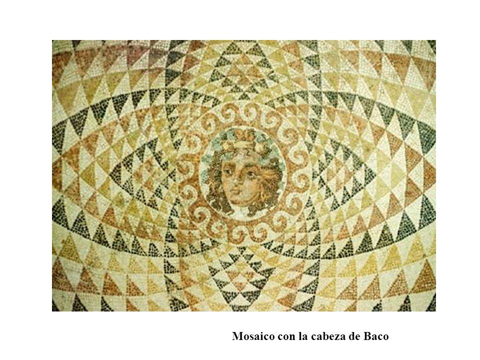 Mosaico con la cabeza de Baco