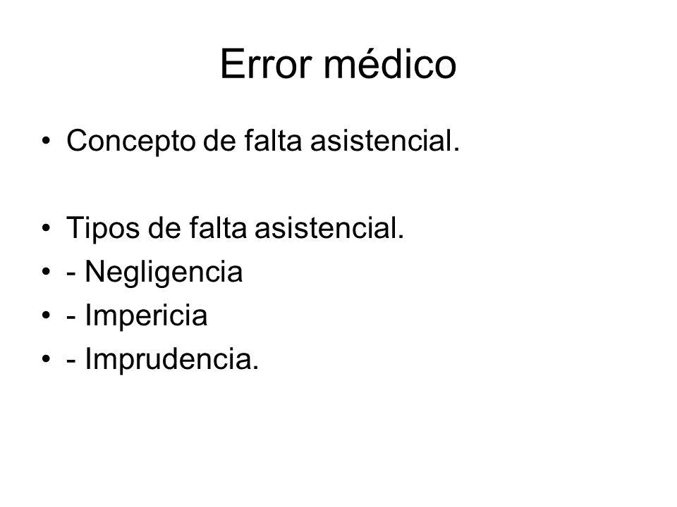 Error médico Concepto de falta asistencial. Tipos de falta asistencial.