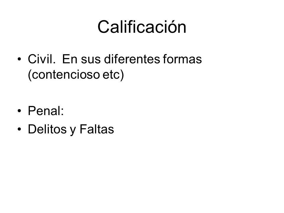 Calificación Civil. En sus diferentes formas (contencioso etc) Penal: Delitos y Faltas