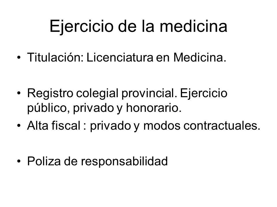Ejercicio de la medicina Titulación: Licenciatura en Medicina.