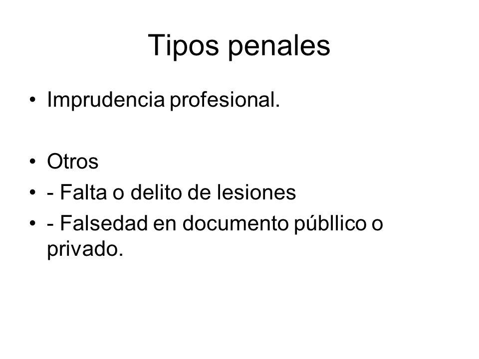 Tipos penales Imprudencia profesional.