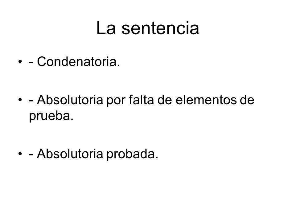 La sentencia - Condenatoria. - Absolutoria por falta de elementos de prueba. - Absolutoria probada.