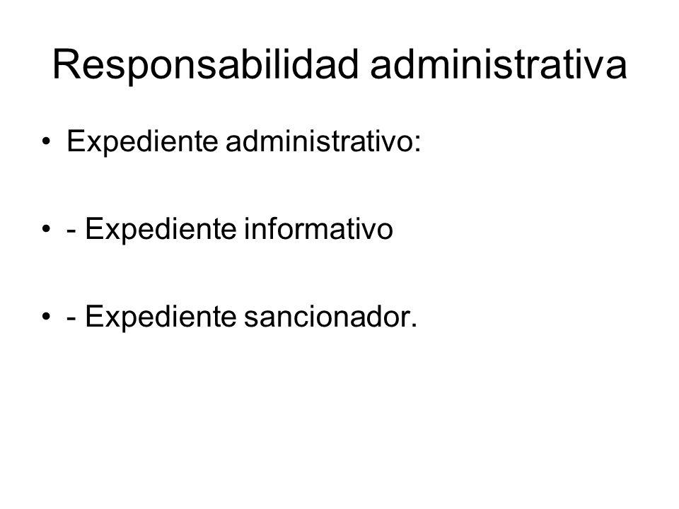Responsabilidad administrativa Expediente administrativo: - Expediente informativo - Expediente sancionador.