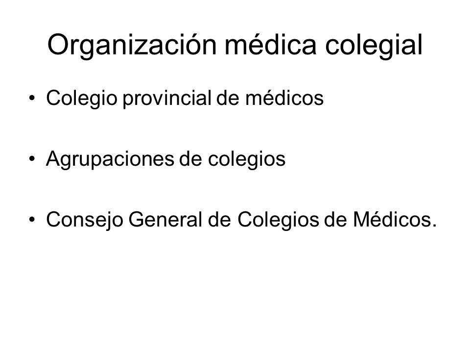 Organización médica colegial Colegio provincial de médicos Agrupaciones de colegios Consejo General de Colegios de Médicos.