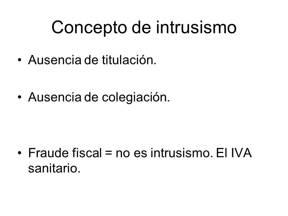 Concepto de intrusismo Ausencia de titulación. Ausencia de colegiación.
