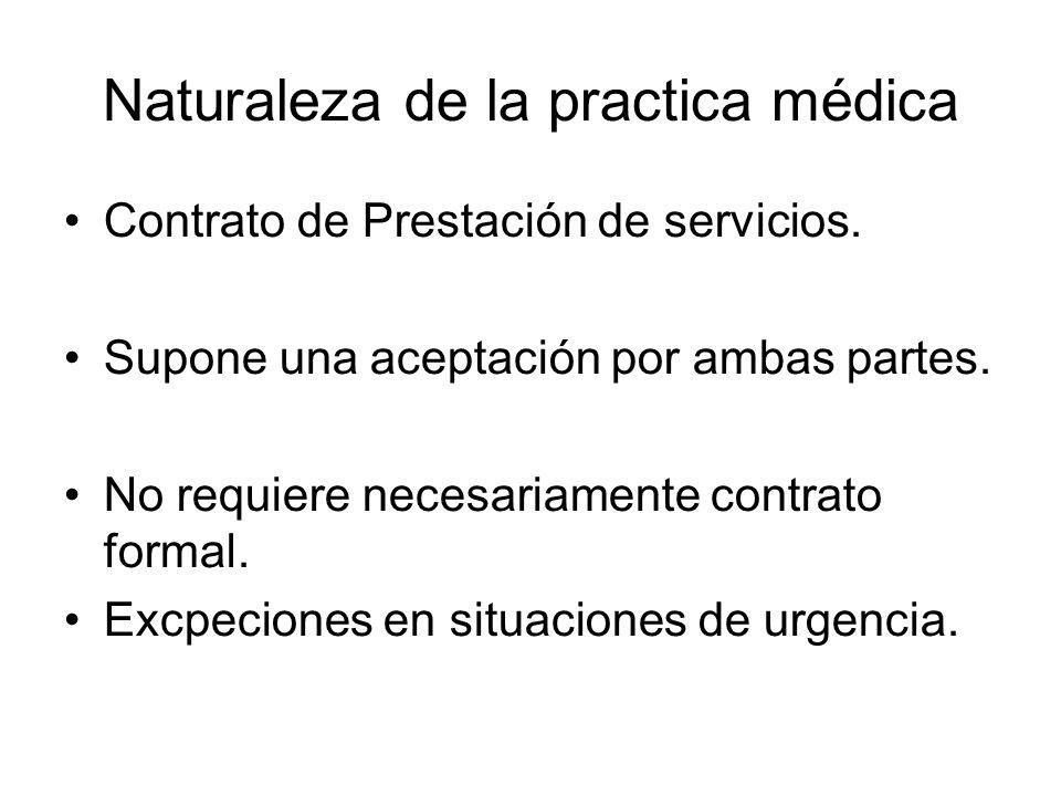 Naturaleza de la practica médica Contrato de Prestación de servicios.