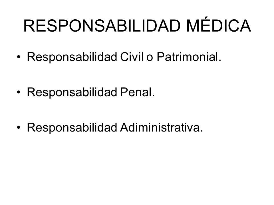 RESPONSABILIDAD MÉDICA Responsabilidad Civil o Patrimonial. Responsabilidad Penal. Responsabilidad Adiministrativa.