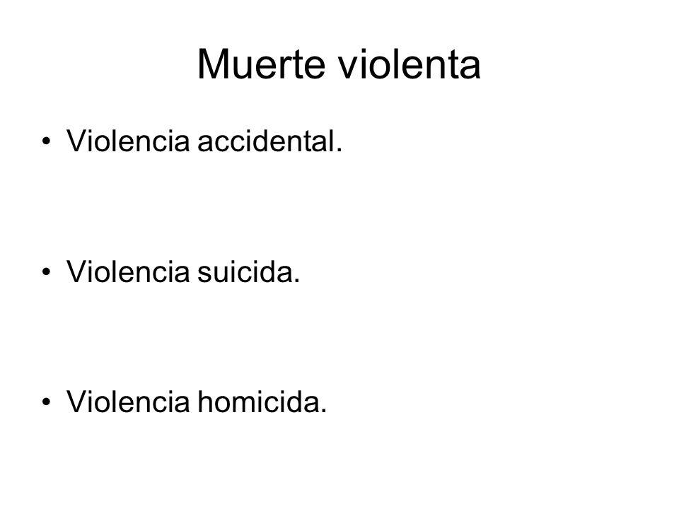 Muerte violenta Violencia accidental. Violencia suicida. Violencia homicida.