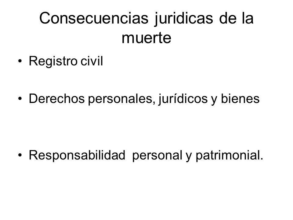 Consecuencias juridicas de la muerte Registro civil Derechos personales, jurídicos y bienes Responsabilidad personal y patrimonial.