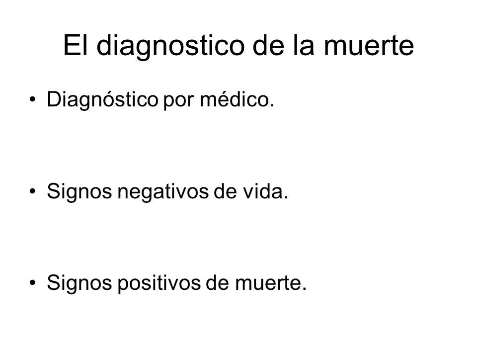 El diagnostico de la muerte Diagnóstico por médico. Signos negativos de vida. Signos positivos de muerte.
