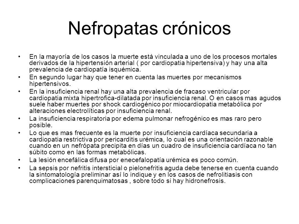 Nefropatas crónicos En la mayoría de los casos la muerte está vinculada a uno de los procesos mortales derivados de la hipertensión arterial ( por car