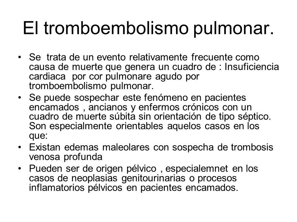 El tromboembolismo pulmonar. Se trata de un evento relativamente frecuente como causa de muerte que genera un cuadro de : Insuficiencia cardiaca por c