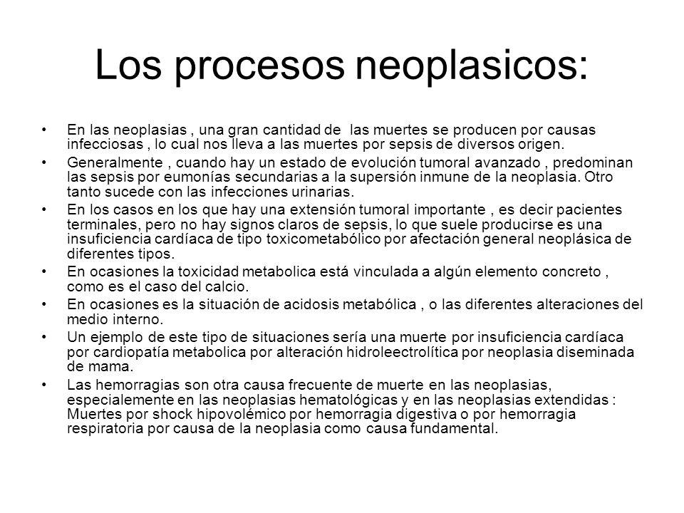 Los procesos neoplasicos: En las neoplasias, una gran cantidad de las muertes se producen por causas infecciosas, lo cual nos lleva a las muertes por