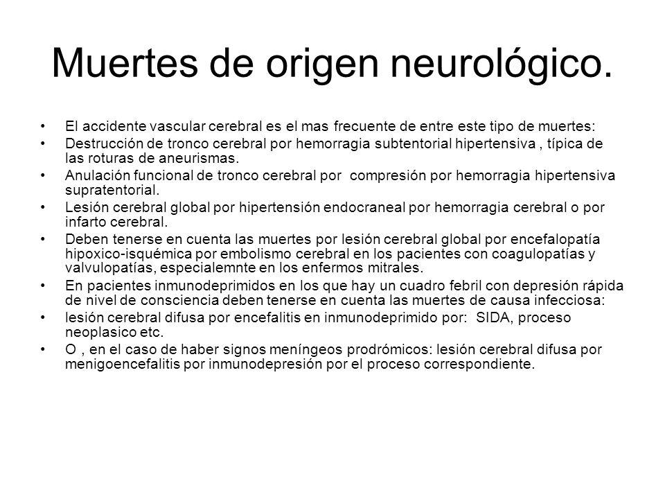 Muertes de origen neurológico. El accidente vascular cerebral es el mas frecuente de entre este tipo de muertes: Destrucción de tronco cerebral por he