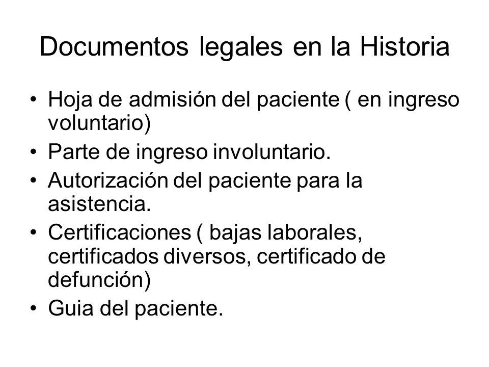 Documentos legales en la Historia Hoja de admisión del paciente ( en ingreso voluntario) Parte de ingreso involuntario. Autorización del paciente para