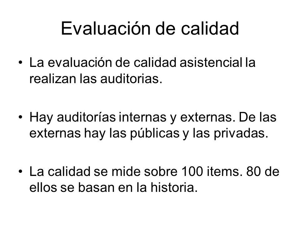 Evaluación de calidad La evaluación de calidad asistencial la realizan las auditorias. Hay auditorías internas y externas. De las externas hay las púb