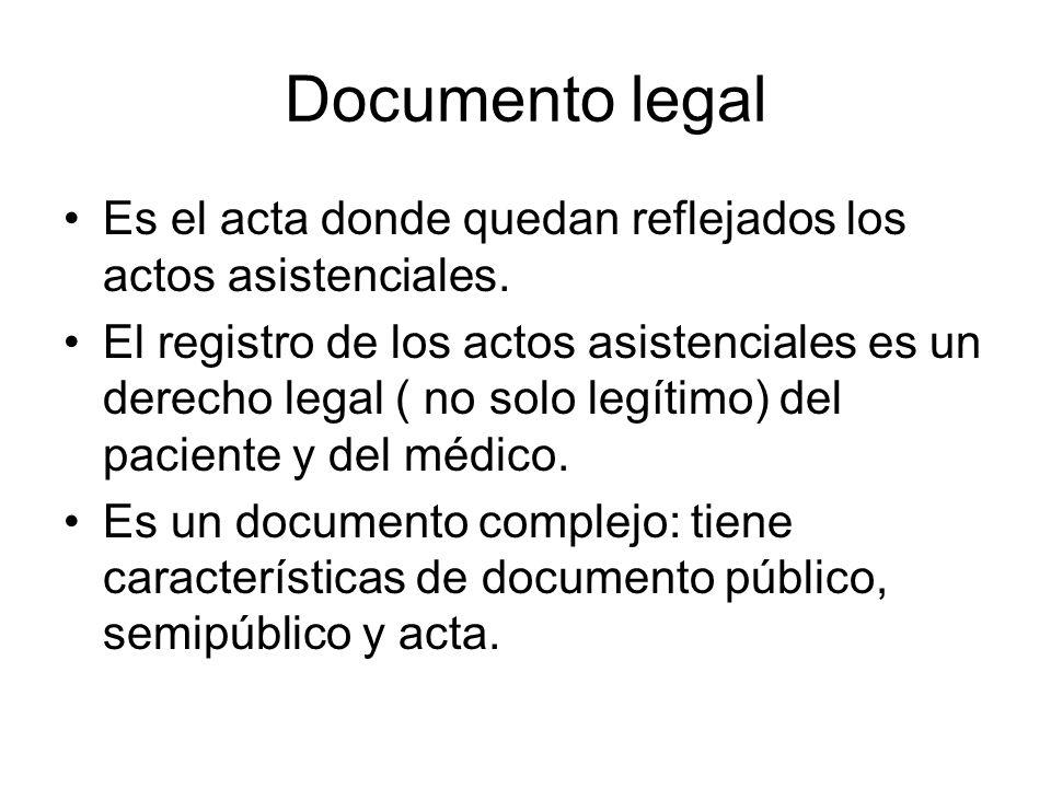 Documento legal Es el acta donde quedan reflejados los actos asistenciales. El registro de los actos asistenciales es un derecho legal ( no solo legít