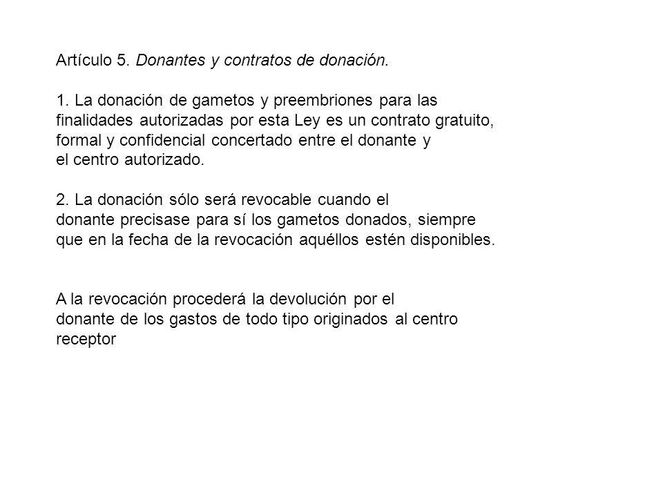Artículo 5. Donantes y contratos de donación. 1.