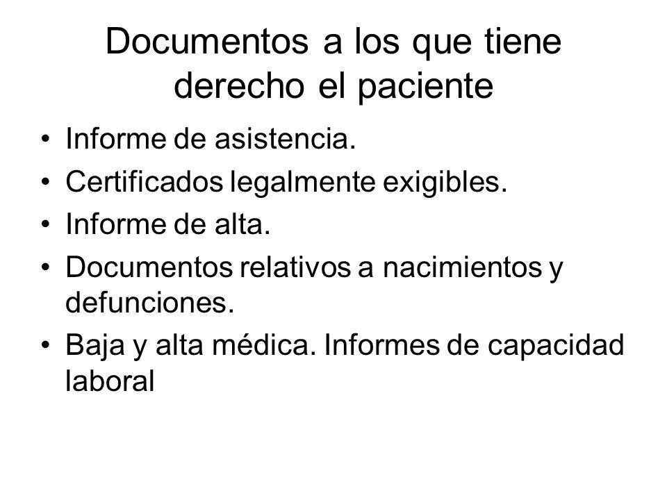 Documentos a los que tiene derecho el paciente Informe de asistencia. Certificados legalmente exigibles. Informe de alta. Documentos relativos a nacim