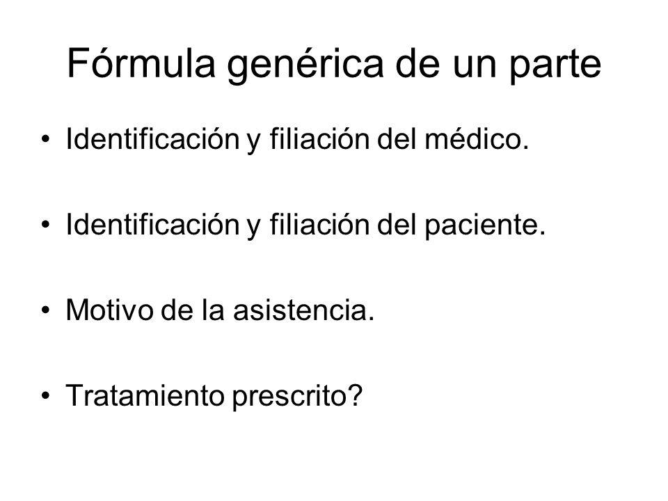 Fórmula genérica de un parte Identificación y filiación del médico. Identificación y filiación del paciente. Motivo de la asistencia. Tratamiento pres