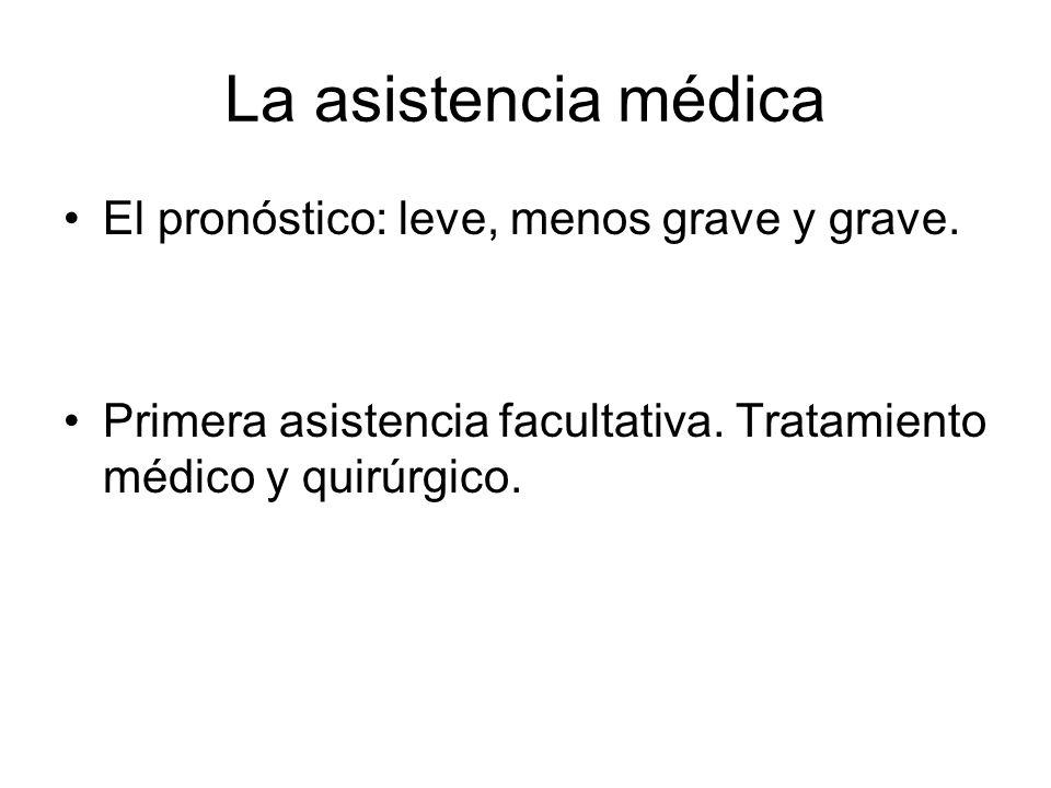 La asistencia médica El pronóstico: leve, menos grave y grave. Primera asistencia facultativa. Tratamiento médico y quirúrgico.