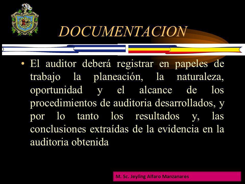 DOCUMENTACION De acuerdo a la Norma 230, ¨ El auditor deberá documentar los asuntos que son importantes para apoyar la opinión de auditoria y dar evid