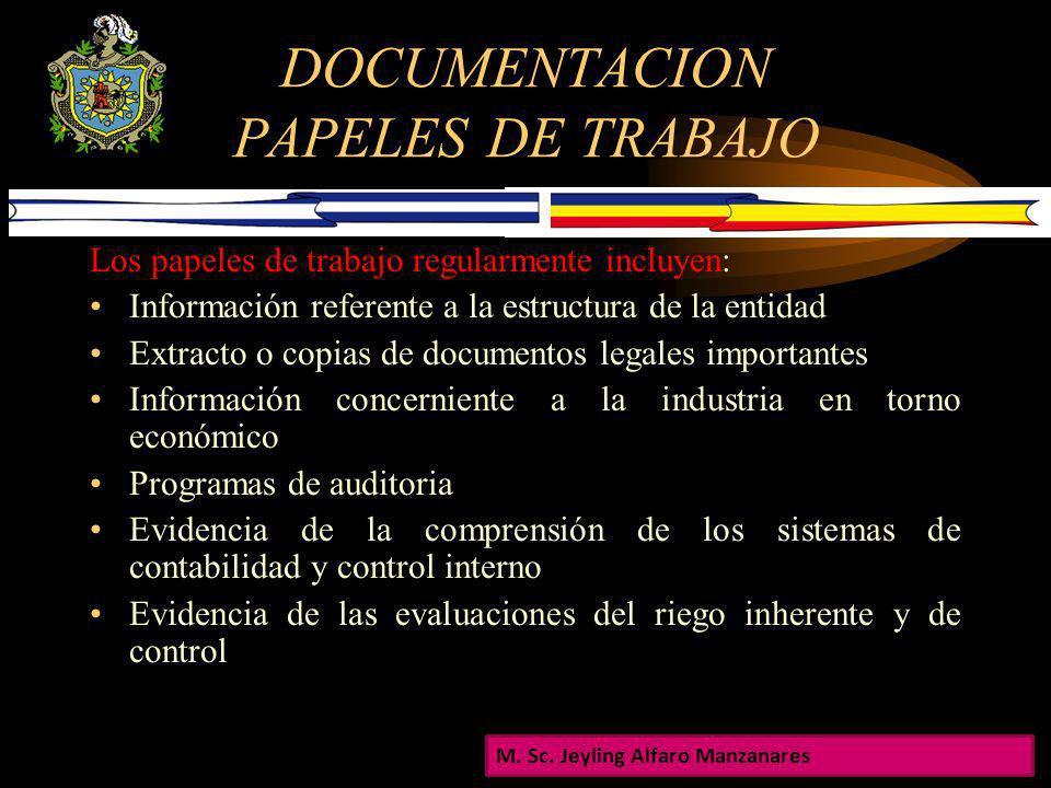 DOCUMENTACION El auditor deberá registrar en papeles de trabajo la planeación, la naturaleza, oportunidad y el alcance de los procedimientos de audito