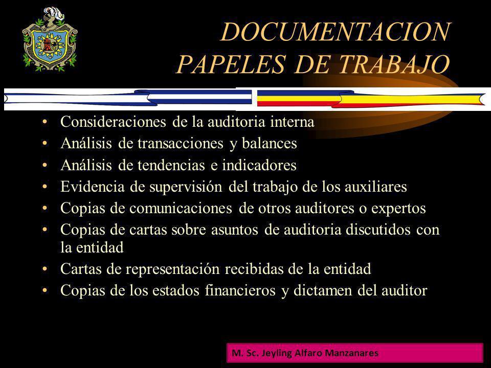 DOCUMENTACION PAPELES DE TRABAJO Los papeles de trabajo regularmente incluyen: Información referente a la estructura de la entidad Extracto o copias d