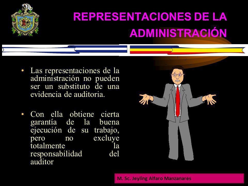REPRESENTACIONES DE LA ADMINISTRACIÓN Durante el curso de una auditoria, la administración hace muchas representaciones al auditor, ya sea en forma no