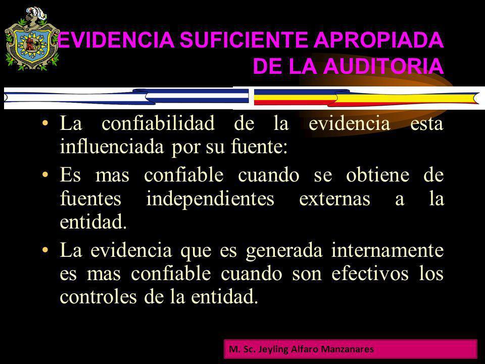 EVIDENCIA SUFICIENTE APROPIADA DE LA AUDITORIA La cantidad de la evidencia de la auditoria esta afectada por el riesgo. A mayor riesgo mas evidencia.