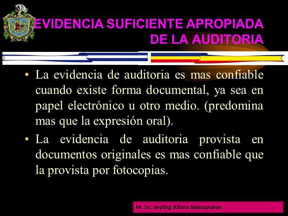 EVIDENCIA SUFICIENTE APROPIADA DE LA AUDITORIA La confiabilidad de la evidencia esta influenciada por su fuente: Es mas confiable cuando se obtiene de
