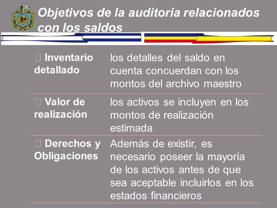 Objetivos de la auditoria relacionados con los saldos Inventario detallado los detalles del saldo en cuenta concuerdan con los montos del archivo maes