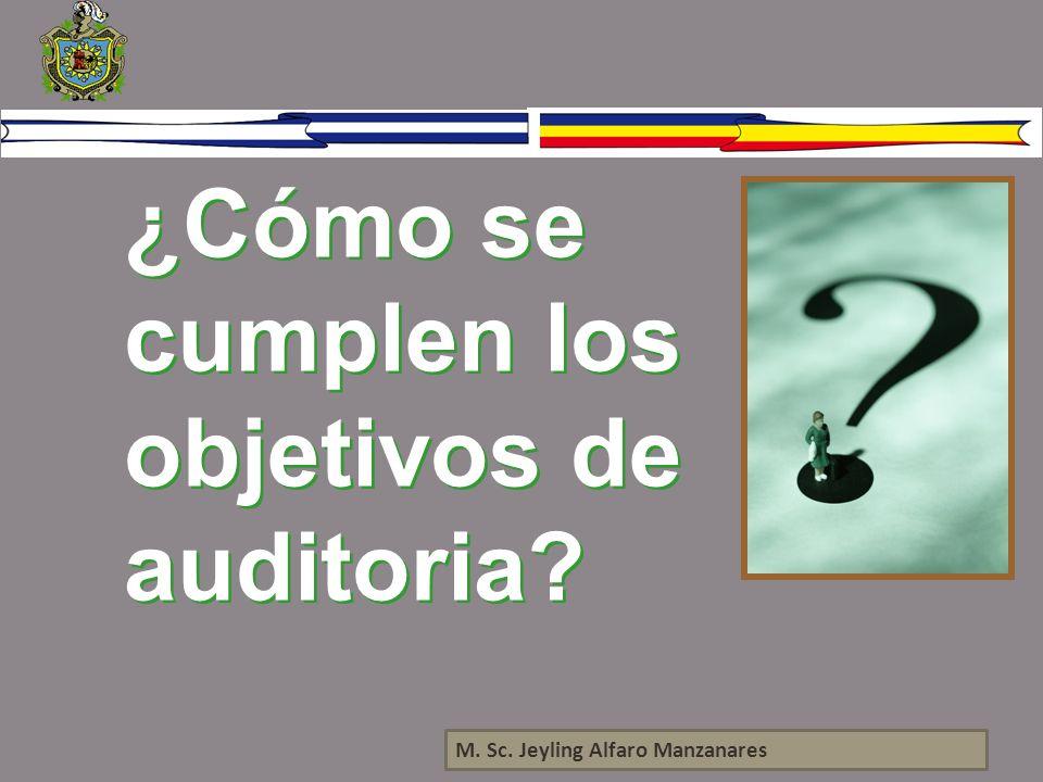 ¿Cómo se cumplen los objetivos de auditoria? M. Sc. Jeyling Alfaro Manzanares