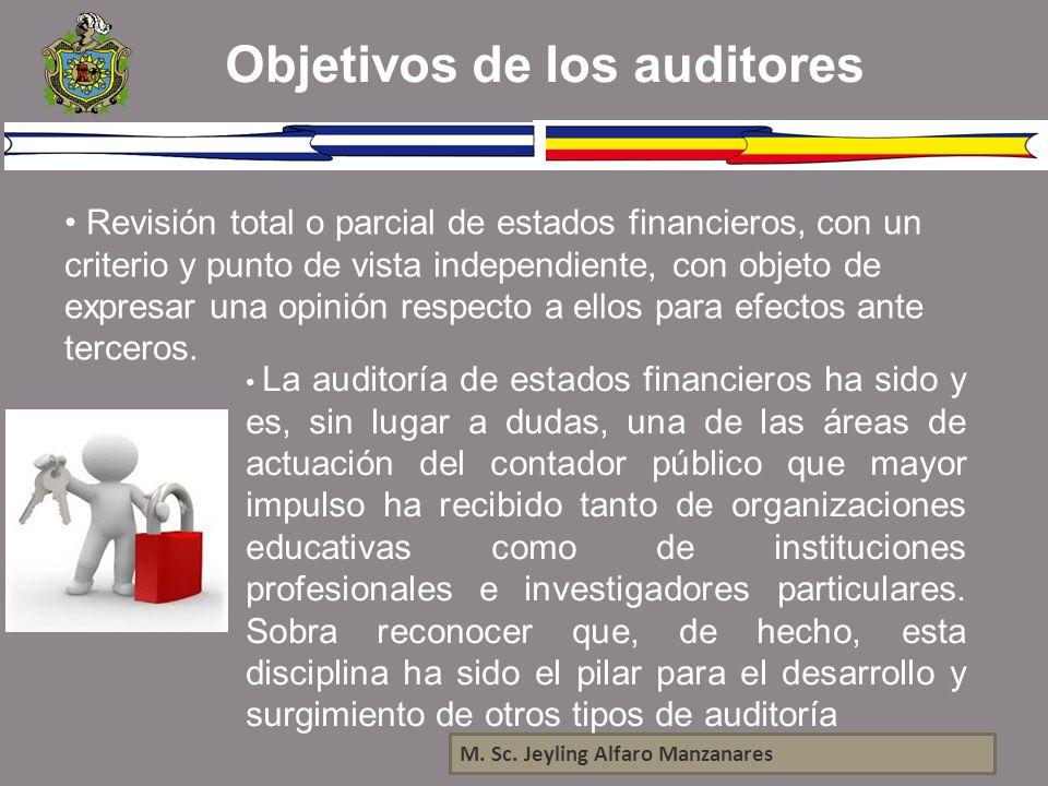 Objetivos de los auditores M. Sc. Jeyling Alfaro Manzanares Revisión total o parcial de estados financieros, con un criterio y punto de vista independ