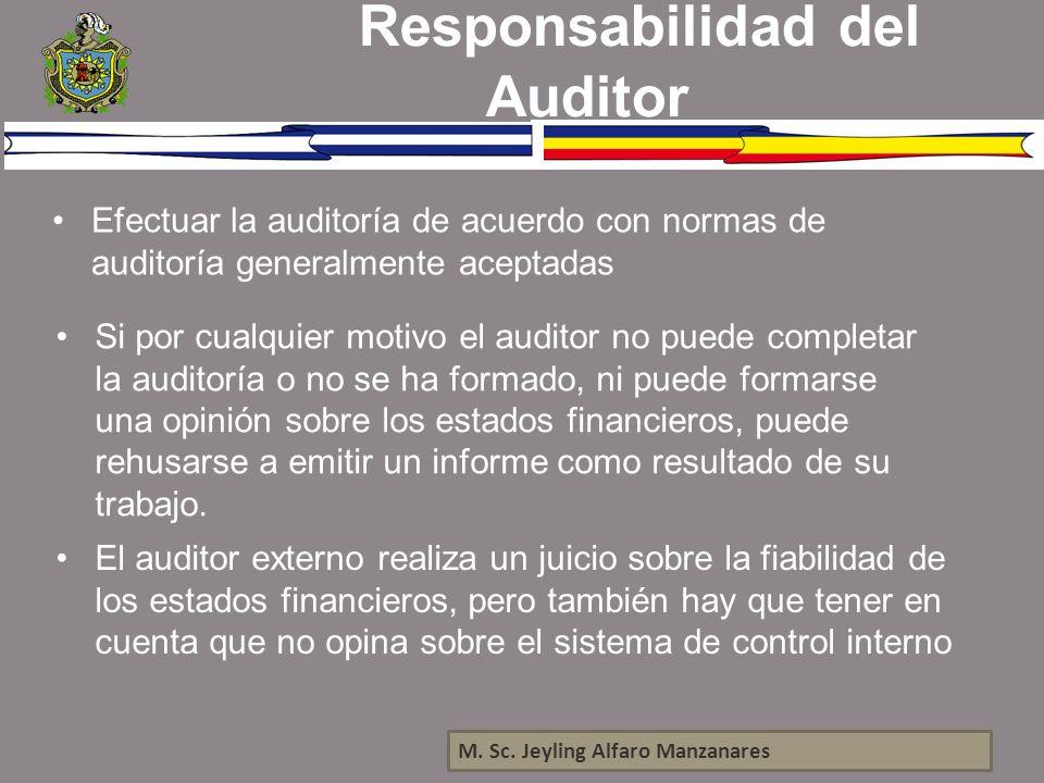 M. Sc. Jeyling Alfaro Manzanares Responsabilidad del Auditor Efectuar la auditoría de acuerdo con normas de auditoría generalmente aceptadas Si por cu