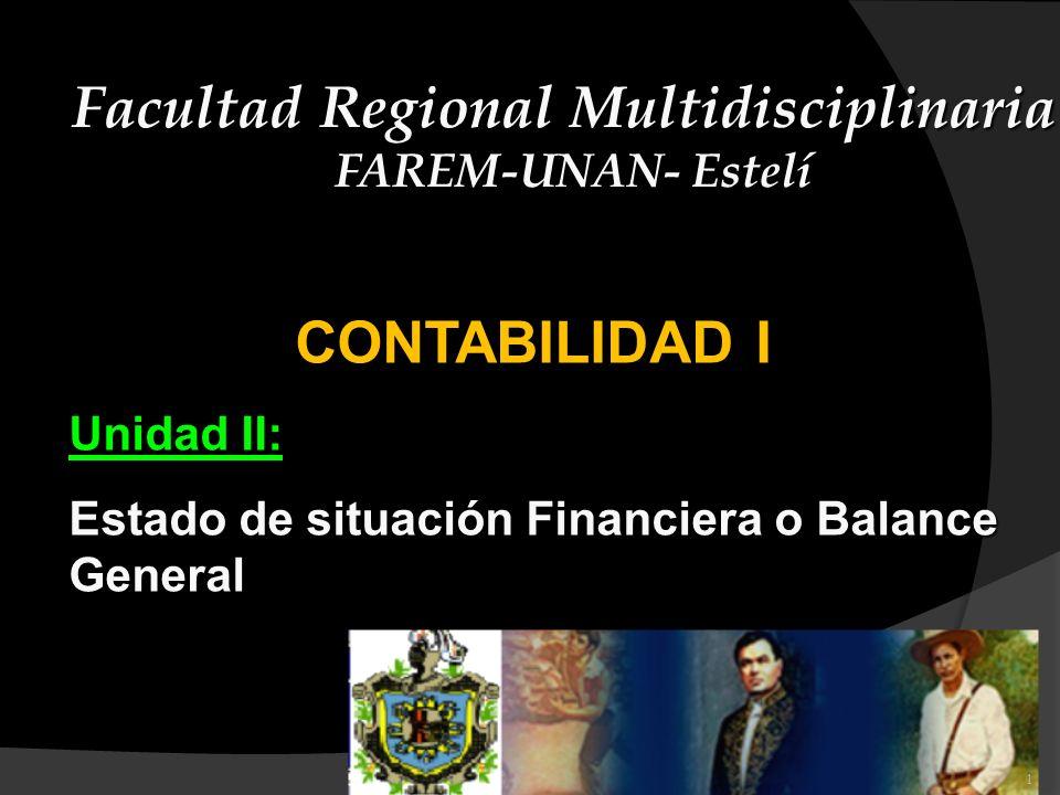 CONTABILIDAD I Unidad II: Estado de situación Financiera o Balance General Facultad Regional Multidisciplinaria FAREM-UNAN- Estelí 1