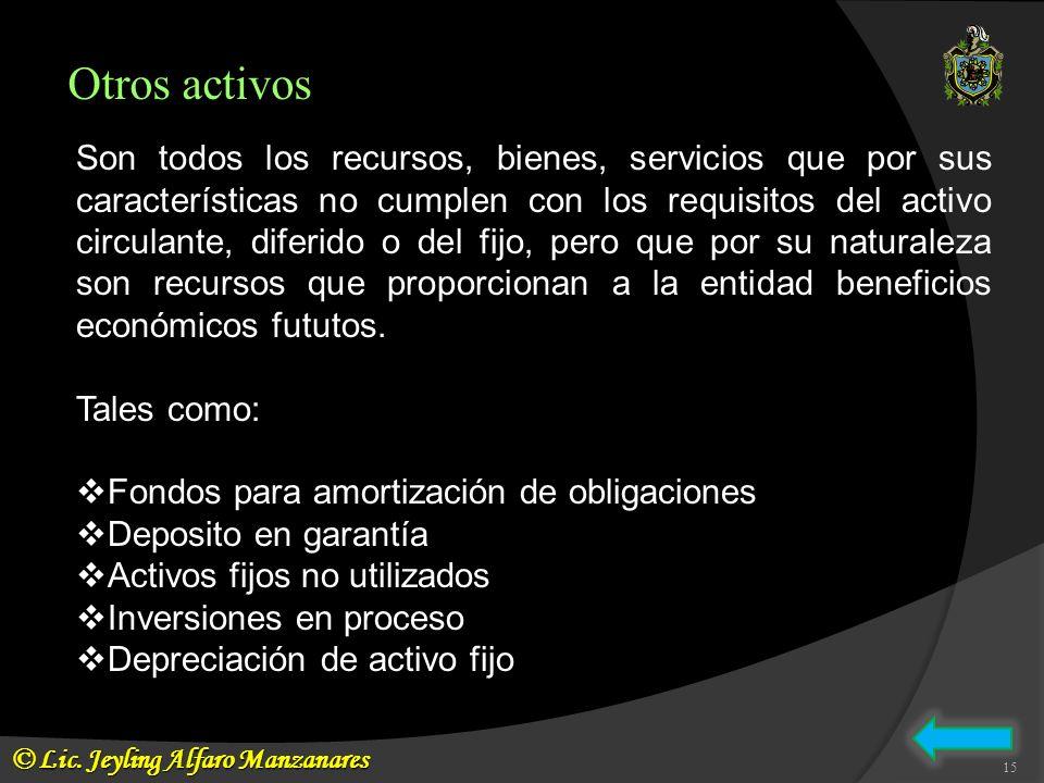 Otros activos Son todos los recursos, bienes, servicios que por sus características no cumplen con los requisitos del activo circulante, diferido o de