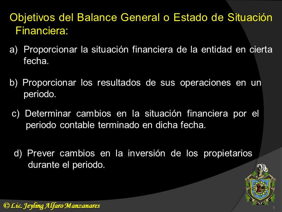 Objetivos del Balance General o Estado de Situación Financiera: b) Proporcionar los resultados de sus operaciones en un periodo. c) Determinar cambios