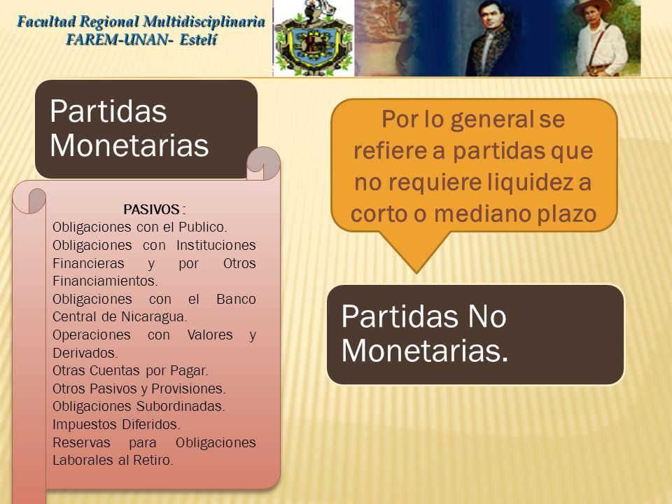 Partidas Monetarias Partidas No Monetarias. Facultad Regional Multidisciplinaria FAREM-UNAN- Estelí PASIVOS : Obligaciones con el Publico. Obligacione