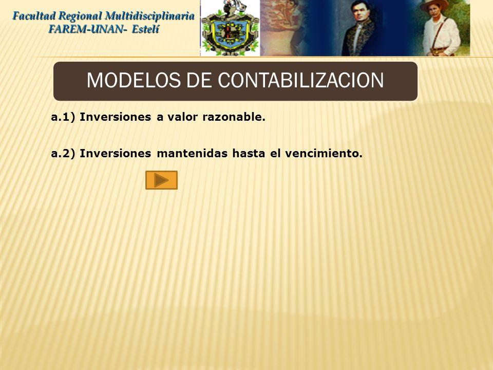 MODELOS DE CONTABILIZACION Facultad Regional Multidisciplinaria FAREM-UNAN- Estelí Inversiones en valores. b) Inversiones disponibles para la venta: S
