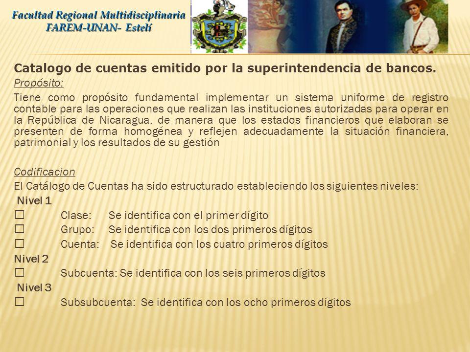 Catalogo de cuentas emitido por la superintendencia de bancos.