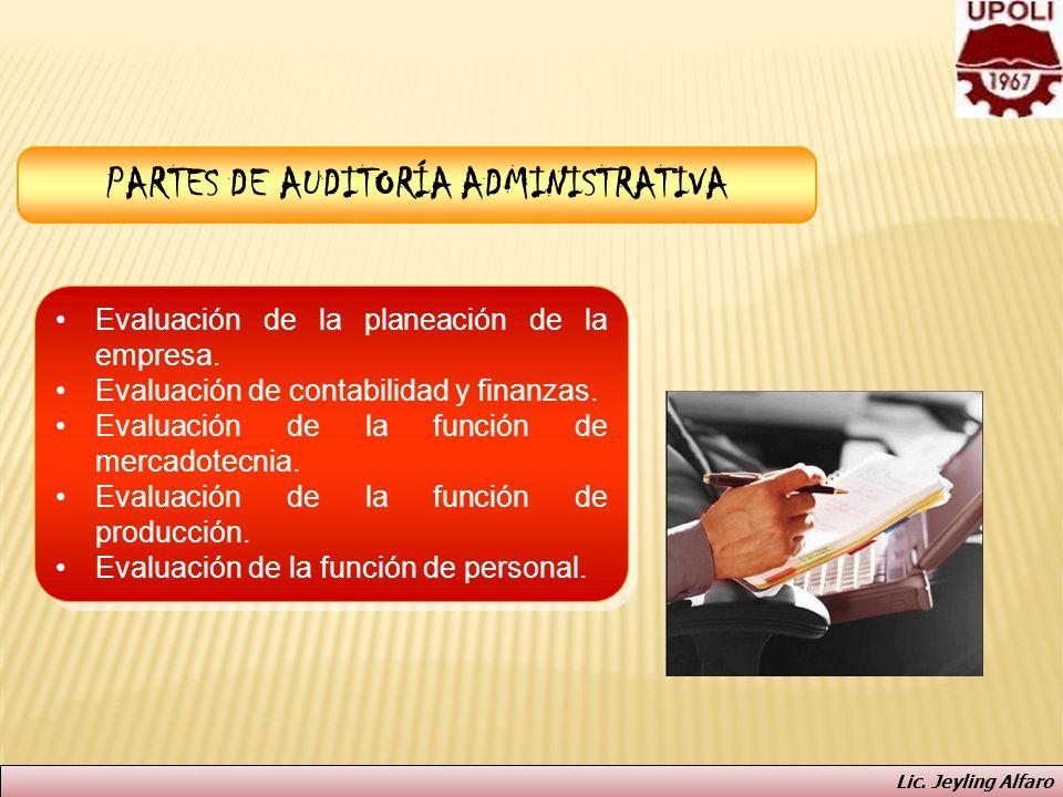 PARTES DE AUDITORÍA ADMINISTRATIVA Evaluación de la planeación de la empresa. Evaluación de contabilidad y finanzas. Evaluación de la función de merca