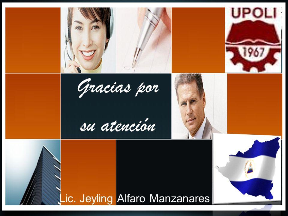 Gracias por su atención Lic. Jeyling Alfaro Manzanares