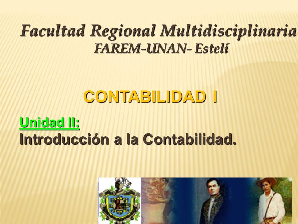CONTABILIDAD I Unidad II: Introducción a la Contabilidad. Facultad Regional Multidisciplinaria FAREM-UNAN- Estelí 1