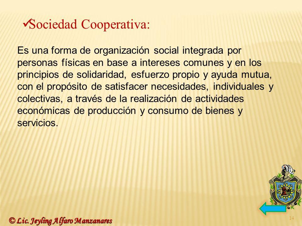 14 Sociedad Cooperativa: Es una forma de organización social integrada por personas físicas en base a intereses comunes y en los principios de solidar