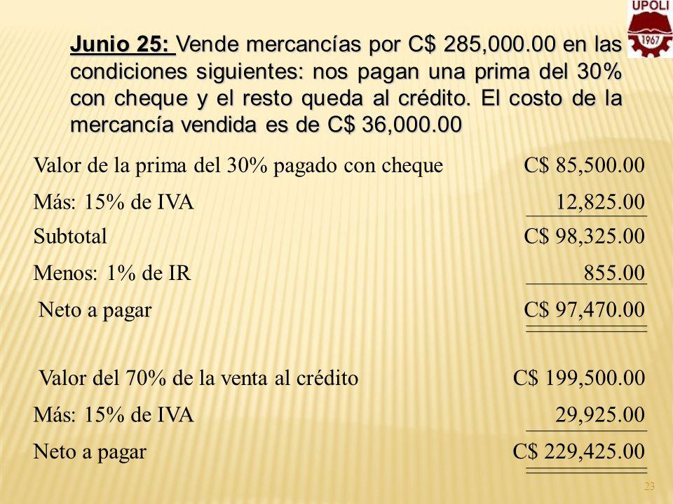 Junio 25: Vende mercancías por C$ 285,000.00 en las condiciones siguientes: nos pagan una prima del 30% con cheque y el resto queda al crédito. El cos
